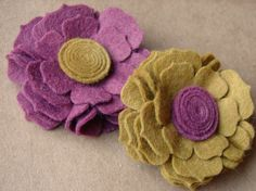 Wool Felt Flower Blossoms. Make into hair clips, head bands to sell along with feather accessories