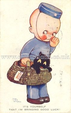 Loved this vintage card of a postal worker! by Mabel Lucy Attwell