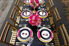 table settings, pink flowers, inspiration, centerpiec, sequins, black gold, parti idea, tabl set, linen
