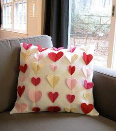 Valentine pillow. Pick a theme: hearts, bats, leaves, four leaf clovers .....use pre-cut felt shapes & sew a simple straight line!