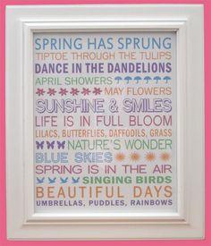 Spring Subway Art - Free Printable