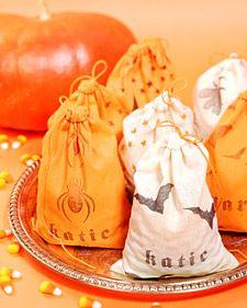 Stamped Muslin Halloween Treat Bags