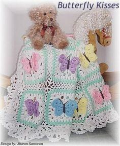 butterfli kiss, baby afghans, butterfly kisses, afghan patterns, crochet baby blankets, blanket patterns, crochet patterns, babi afghan, kiss babi