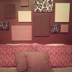 DIY-- easy fabric canvas wall art :) wall colors, wall spaces, diy canvas art, canva art, canvas wall art, canva wall, guest rooms, red walls, easi fabric