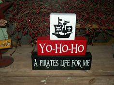 Boys Pirate Themed Nursery Wood Sign Blocks Personalized Room Decor