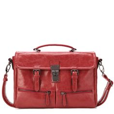 Red PU Leather Designer Handbag