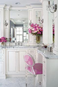 chair, vaniti, dream bathrooms, color, bathroom designs, white bathrooms, master baths, powder rooms, marbl
