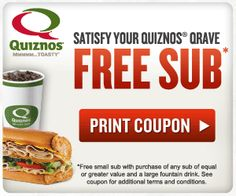 free sub @ quiznos,  print this before they are gone!