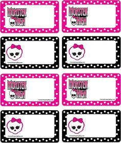 nametags Monster High