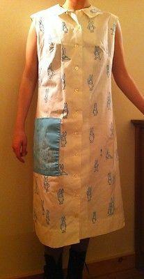 Vintage Vested Gentress Hand Screen Print Blue Bunnies Dress M Sz 12 Cute | eBay