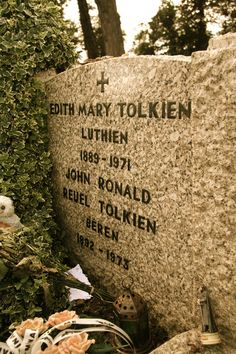 The gravestone of J.R.R. Tolkien and his wife Edith, in Wolvercote Cemetery, Oxford, UK. The names engraved under their own were chosen by John based on characters from his Middle-earth legendarium. Luthien was the most beautiful of the children of Iluvatar and forsook her immortality for her love of the mortal warrior Beren.  John and Edith Tolkien were married for over 50 years. She was the Luthien to his Beren :)