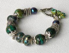 Tidepool Handmade Beaded Bracelet Green Blue Agate Lampwork Glass Pearls via Etsy