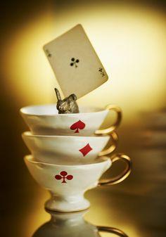 rabbit, tea time, vintage chic, alice in wonderland, wonderland party, playing cards, vintage homes, vintage home decor, teacup