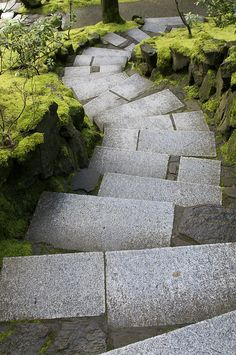 Down the Steps,Japanese Garden of Portland Oregon