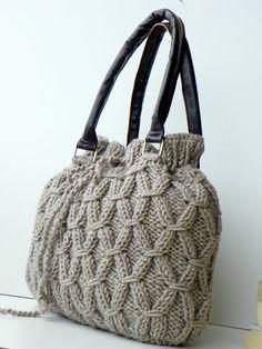 Knitted tote handbag, Beige Melange Knit Bag, Handbag - Handmade Shoulder Bag, Leather Strap, women accessories