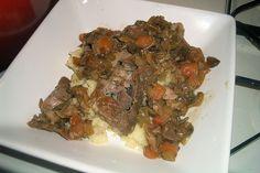 mashed cauliflower, paleo meal, steaks, brais pork, serv, pork steak