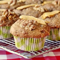 No Added Fat Apple Walnut Muffins - Sweet apple, spices and crunchy toasted walnut pieces ensure that the fat will not be missed at all in these muffins.