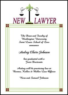 enjoy free graduation announcements for new lawyer with scales of justice and law school graduation invitations and lots of other savings at InvitationsByU, with card number 7616IBU-LM