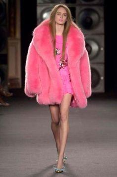 dyed pink fox fur coat