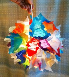 a cool etsy find -- a light made of colorful paper scraps.