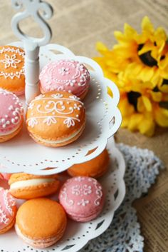 Mango macarons! @Donna Kellner This is a blog by a Japanese mom, and even with Google Translate it was nearly impossible to understand. The pictures and ideas are wonderful though, worth a look.