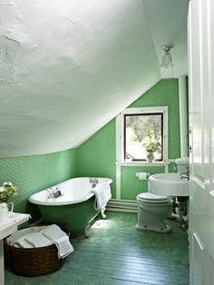 Monochromatic Attic Bathroom.
