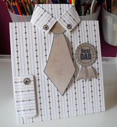 """handmade Father's Day card ... shaped as a man's shirt with tie and """"Best Dad"""" medal ... photo tutorial on the blog ... like shirt cuff ... buttons on collar and cuff ... great card!!"""