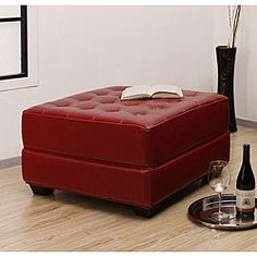 "Red Leather Ottoman overstock.com 3267128 30"" square x 15h $194.99"