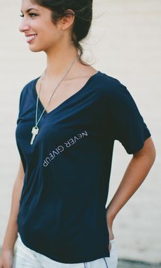 NEVER GIVE UP - #Sevenly specifically placed this phrase upside down so the wearer of the shirt can read it & remind themselves to never give up and not be afraid to seek help!