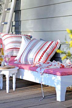 outdoor bench, at home, secret gardens, benches, decorative pillows, cushions, homes, porch, loung