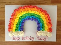 Rainbow cupcake cake. Super cute for kids birthday party