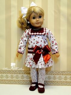 18 Inch American Style Doll Edwardian 1900s White Floral Print  Dress     USE MY SAMANTHA PATTERN