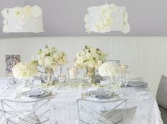 Modern, white and gray wedding tablescape | Phillip Ficks