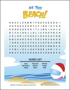 At the Beach Word Search