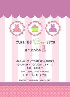 Teddy Bear Birthday Party Invitation  Confectionary by andersruff, $18.00