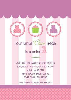 Teddy Bear Birthday Party Invitation  Confectionary by andersruff, $18.00