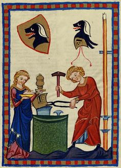 """This illustration from the medieval """"Codex Manesse,"""" a book of poetry and songs, depicts a couple crafting armor amid symbols of a professional guild."""