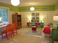 wall colors, game rooms, color schemes, toy rooms, wall decals, paint colors, basement playroom, bonus rooms, kid