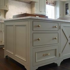 Kitchen Benjamin Moore Revere Pewter Paint Design, Pictures, Remodel, Decor and Ideas.  would also be nice with cream colored  perimeter cabinets, brass hardware, glass pendants.