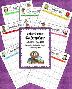FREE School Year Calendar (2013 - 2014) - from Laura Candler's Teaching Resources