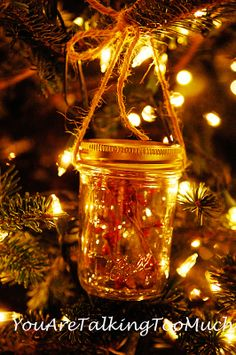 Easy mason jar ornaments. Tutorial on YouAreTalkingTooMuch.com