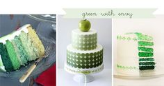 green gradient cake, layer cakes, cake designs, modern cakes, ombr cake