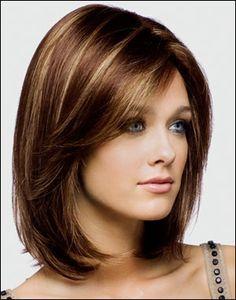 Medium Hair Styles For Women Over 40 | Long bob with highlights. | Hair Styles. I like the highlights