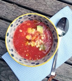 Gluten-free diet: Avocado Gazpacho with Peaches and Corn recipe. So so good.