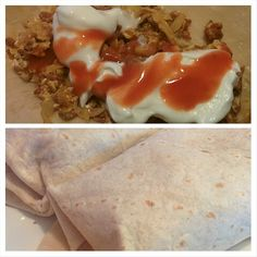 Our new household favorite low carb high day keto-friendly breakfast brunch fare. low carb tortilla + local butcher's andouille sausage + shredded cabbage +feta +eggs +sour cream + Frank's hot sauce = delicious homemade breakfast burrito!