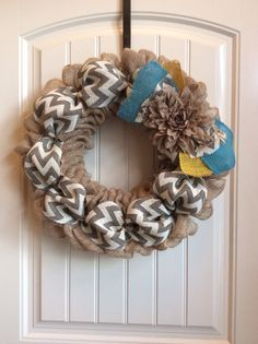 Spring Yellow Aqua Gray Chevron wreath// I have this in my living room and LOVE it!