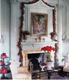 Red berries and amaryllis - In 2005, legendary designer Dan Carithers decked the halls at Swan House. Published by Southern Accents