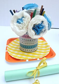 A bouquet of cupcake liner flowers for your child's teacher!