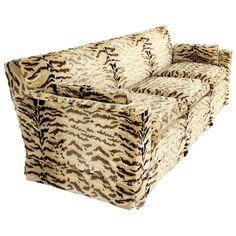 Tiger Pattern Fabric Mid Century Modern Sofa | 1stdibs.com