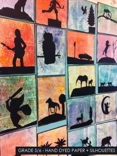 Texture project for 5th grade. artisan des arts: Hand dyed paper with silhouettes - grade 5/6